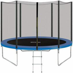 AMGYM 10 FT Kids Trampoline w/ Safety Enclosure Net and Ladd
