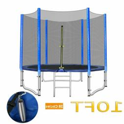 10 FT Round Trampoline Enclosure Net Jumping Mat Pad Combo B