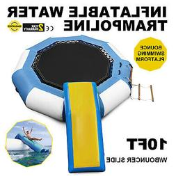 10Ft Inflatable Water Trampoline with Bouncer Slide w/Ladder