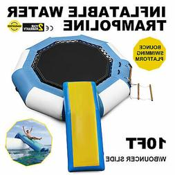 10Ft Inflatable Water Trampoline with Bouncer Slide Ladder &