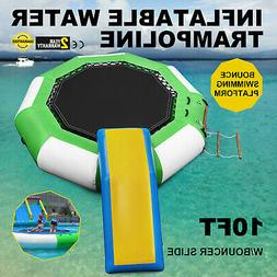 10Ft Inflatable Water Trampoline with Bouncer Slide Floating
