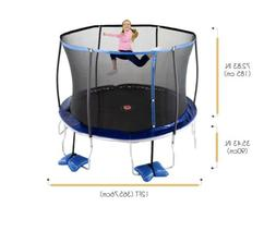 Trujump 12-foot Trampoline, W/Enclosure & Spin N Light, Blue