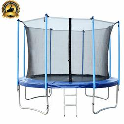 12 FT Round Trampoline with Enclosure, Net W/ Spring Pad Lad