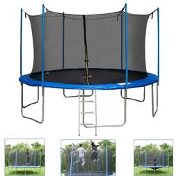 12FT Round Trampoline with Safety Enclosure Net Pad Ladder E