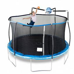 Round 14' Trampoline with Basketball Goal & Safety Enclosure