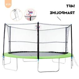 14FT Round Trampoline Combo w/Safety Enclosure&Spring Pad&Ba