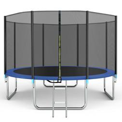 14FT Trampoline with Safety Enclosure Net, Spring Pad and La