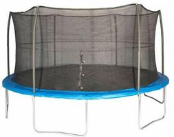 JumpKing 15-Foot Trampoline With Safety Net Enclosure, Blue