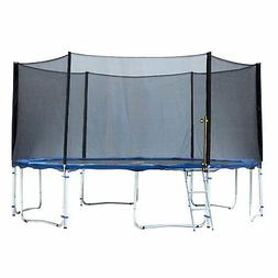 ExacMe 15 Foot Trampoline with Safety Pad, Enclosure Net, an