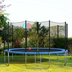 Merax 15' Round Trampoline with Safety Enclosure, Basketball