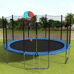 15FT Kids Outdoor Trampoline with Enclosure Net Basketball H