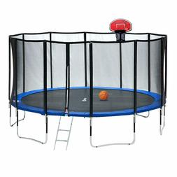 15FT Round Trampoline 400 LBS Weight Limit with Carbon Fiber