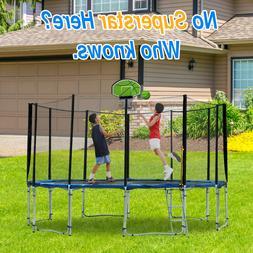 16' Safe Trampoline with Green Basketball Hoop Best Kids G