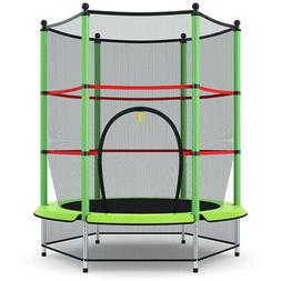 """55"""" Kids Mini Jumping Round Trampoline Exercise W/ Safety"""