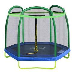 Clevr 7Ft Kids Trampoline With Safety Enclosure Net & Spring