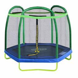 Clevr 7ft Kids Trampoline with Safety Enclosure Net  Spring