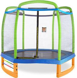 7ft Trampoline Galvanized Steel Springs Large Jumping Area S