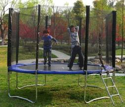 Blue, 12 ft Round, Trampoline With Safety Net Enclosure, Lad