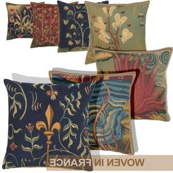 French Tapestry Throw Pillow Cover 18x18 Abstract Floral Wov
