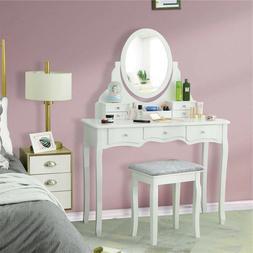 Girls Vanity Makeup Set Dressing Table Stool Rotating Oval M