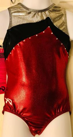 GK LEOTARD CHILD MEDIUM MERLOT STEEL BLACK FOIL JA GYMNASTIC