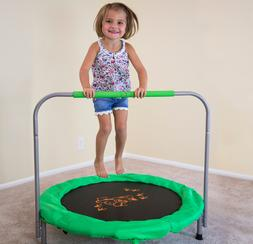 Kids Small Trampoline 36-Inch Bouncer, Green with Safety Bar