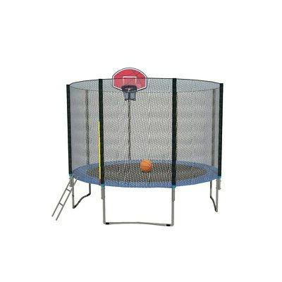 10FT Round Trampoline with Basketball Hoop Safety Enclosure