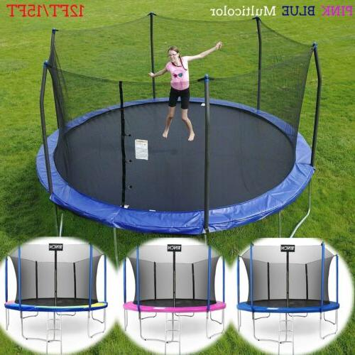 12ft 15ft round trampoline w enclosure bounce