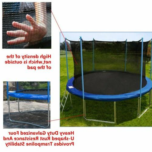 12FT Trampoline Combo Bounce Jump Safety W/Spring Blue~