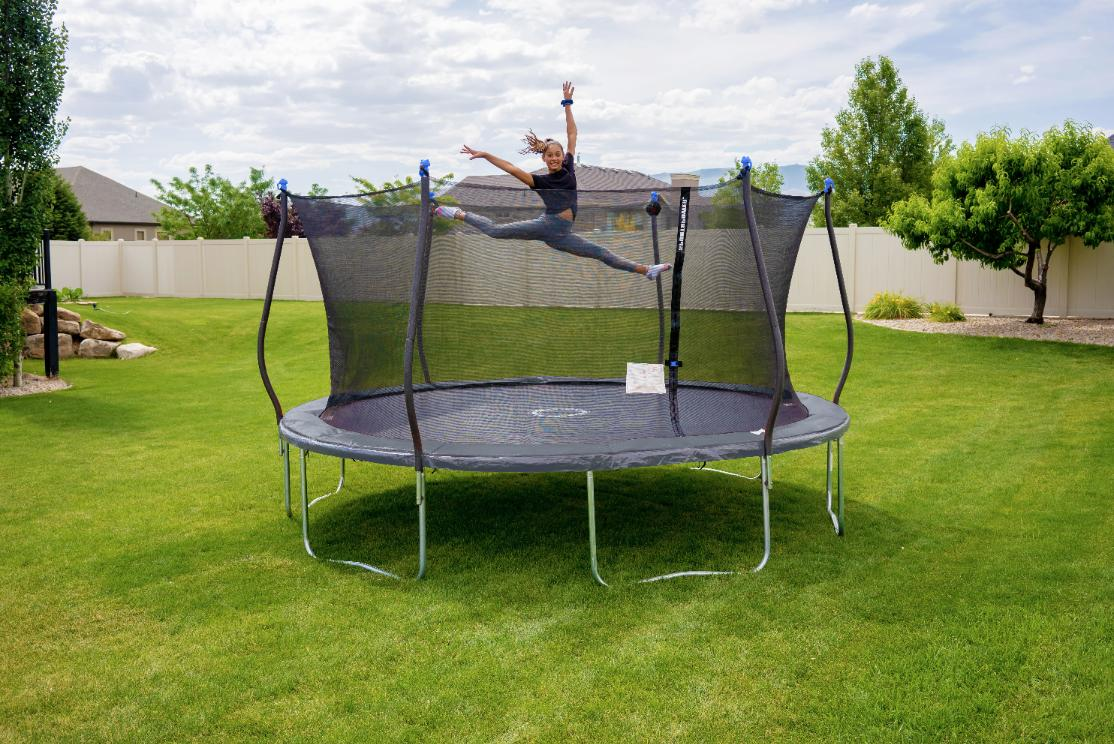 Bounce Pro 14 Ft Trampoline With Steel Frame Enclosure and S