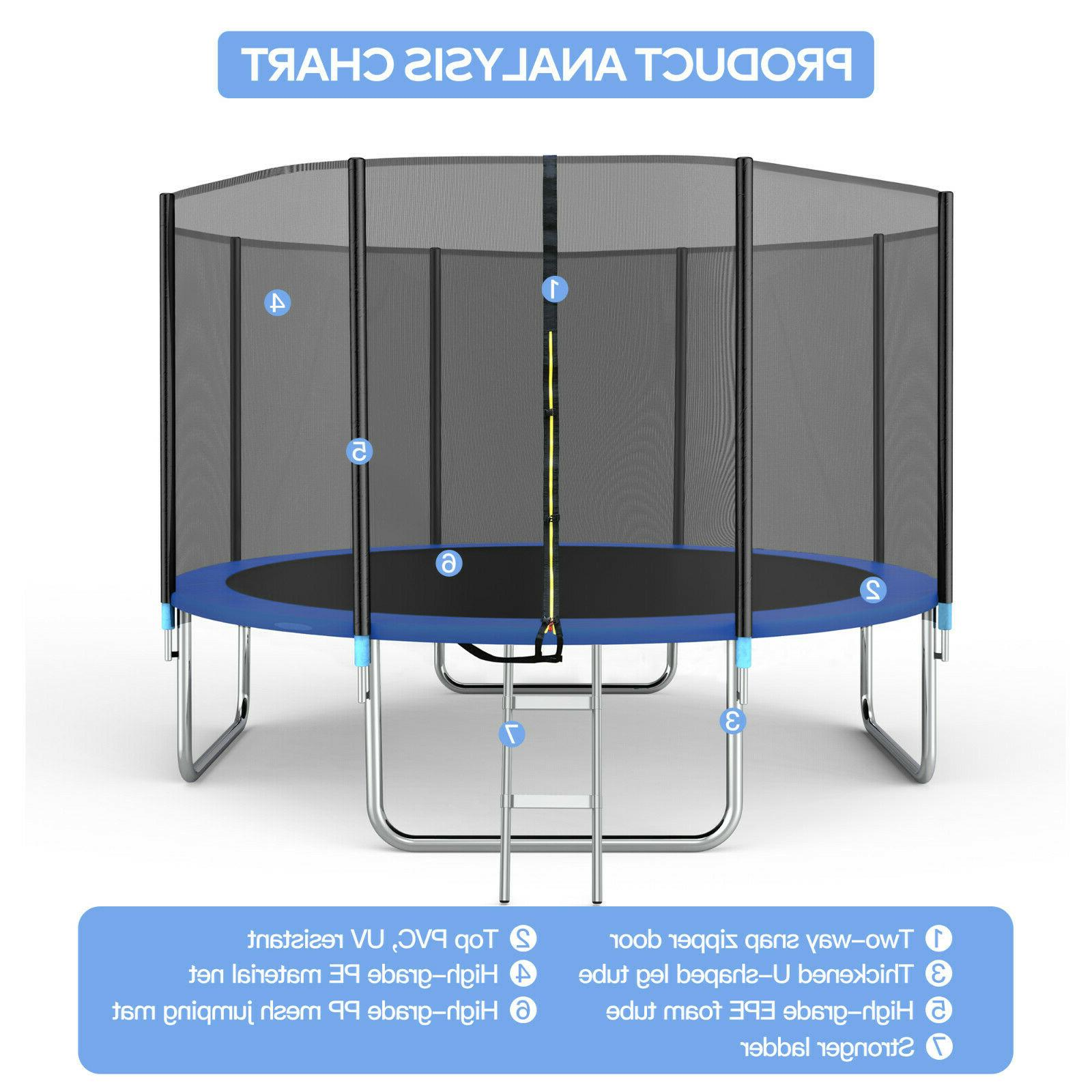 14FT Trampoline with Enclosure Spring
