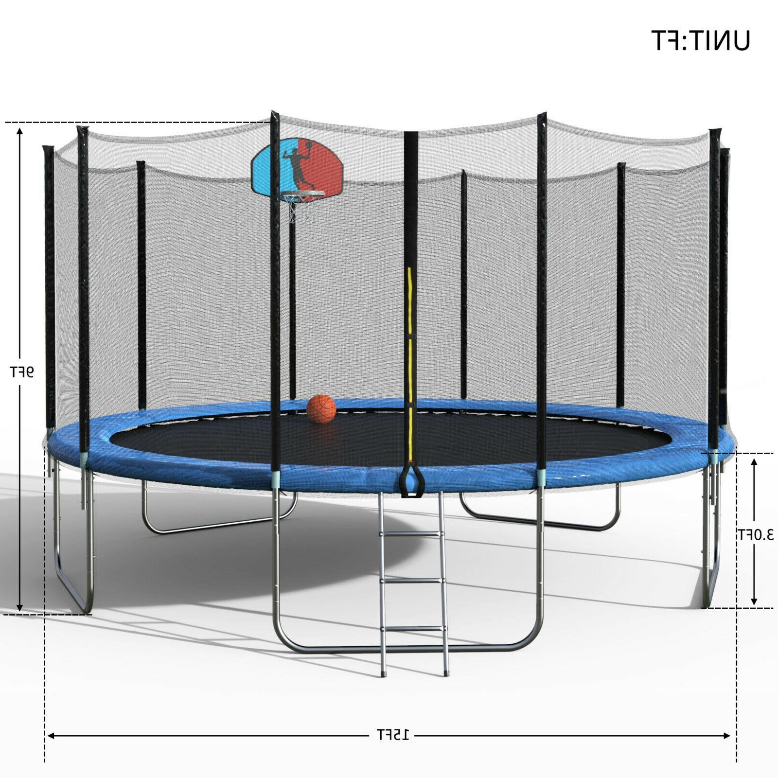Merax 15 Foot Trampoline with Safety Enclosure, Basketball and Ladder