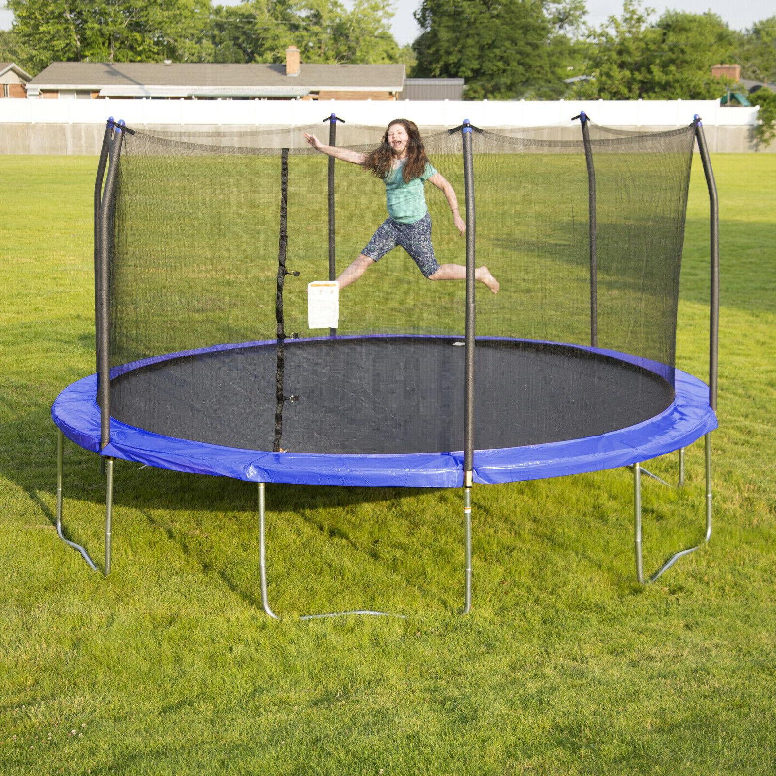 15 foot trampoline with enclosure blue w