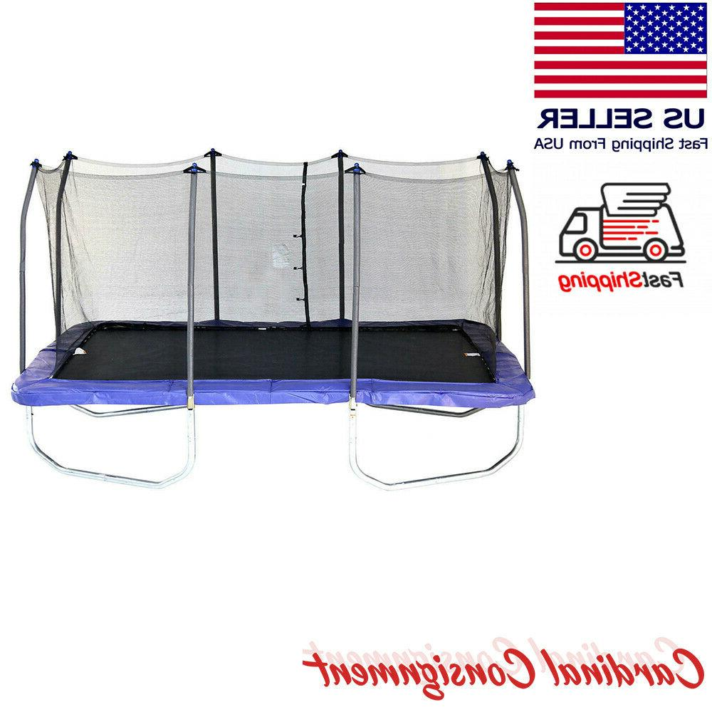 15 rectangle trampoline and enclosure blue