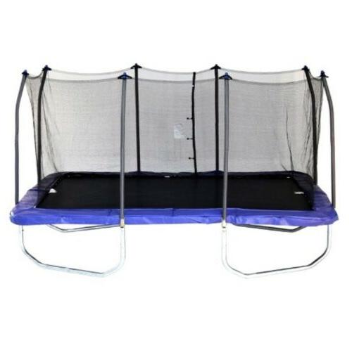 15 rectangle trampoline and enclosure blue read