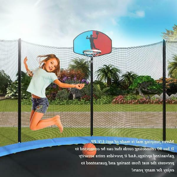 Merax 15' Round with Enclosure, Basketball Hoop and Ladder
