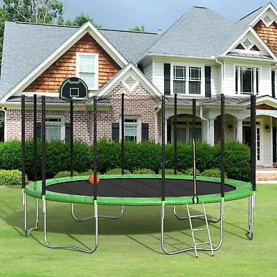 16 trampoline with basketball hoop and enclosure