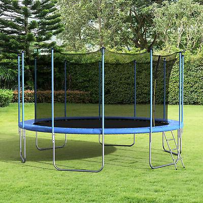 Merax 16' Trampoline with Spring Cover Pad and Enclosure, Bl