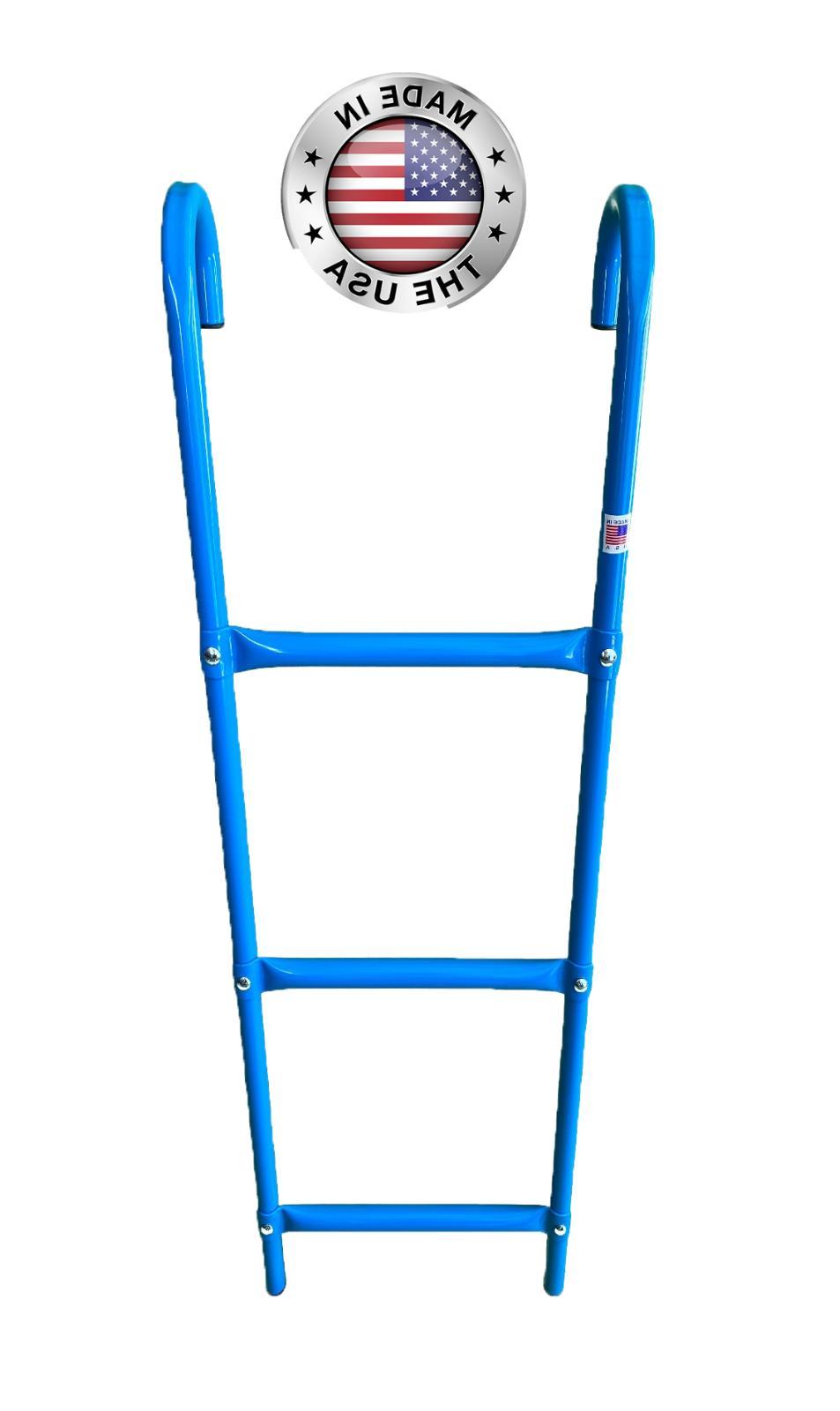 3 step all metal blue trampoline ladder