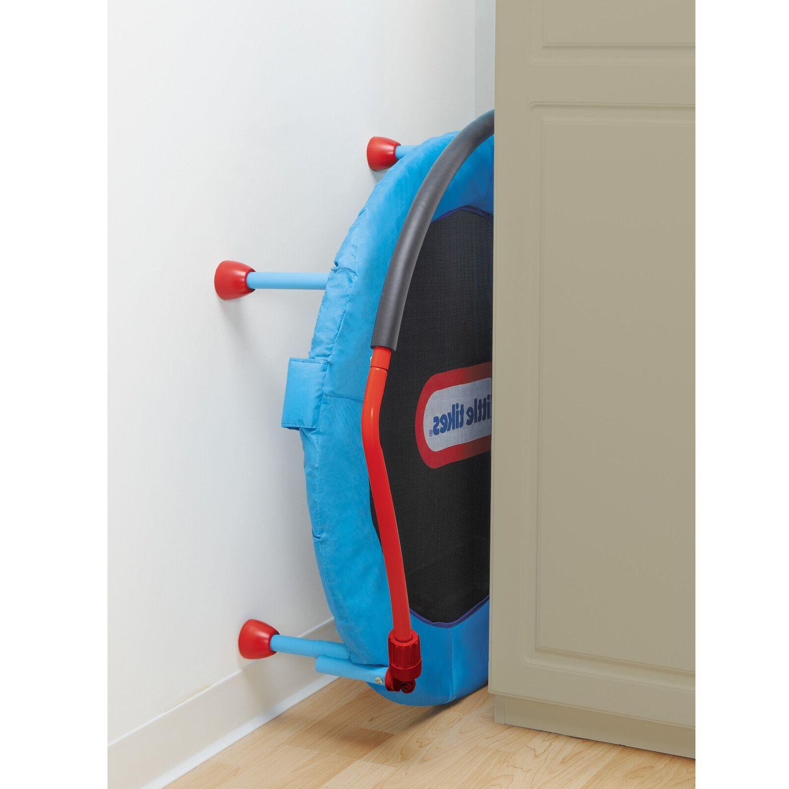 Little Tikes 3' Trampoline w Hand Rail & Easy Storage Blue