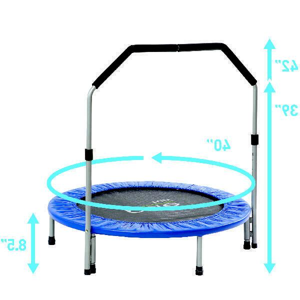 Pure Fun 40-Inch Trampoline, Handrail, Blue Adjustable