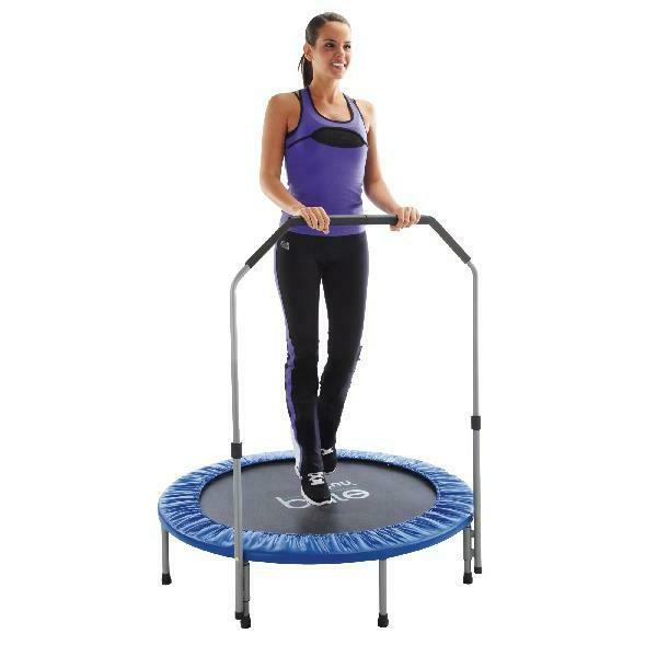40 inch exercise trampoline with handrail blue