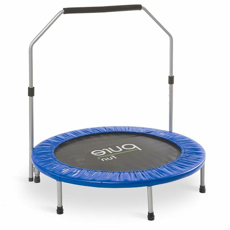 Pure Fun 40-inch Exercise Trampoline with Handrail Blue 3.33