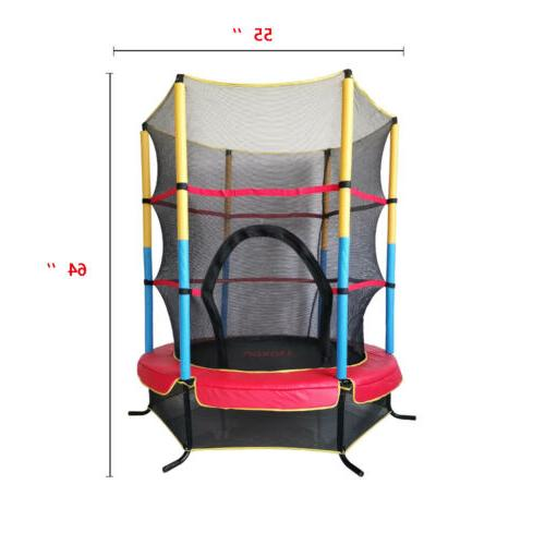 """Out/Indoor 55"""" Youth Kids Toy Trampoline Exercise Safety Pad Enclosure"""