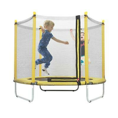 "60"" Round Children Trampoline with Safety Net Enclosure Fitn"