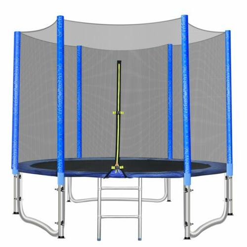 10ft Round Trampoline with Safety Enclosure Net Jumping Mat