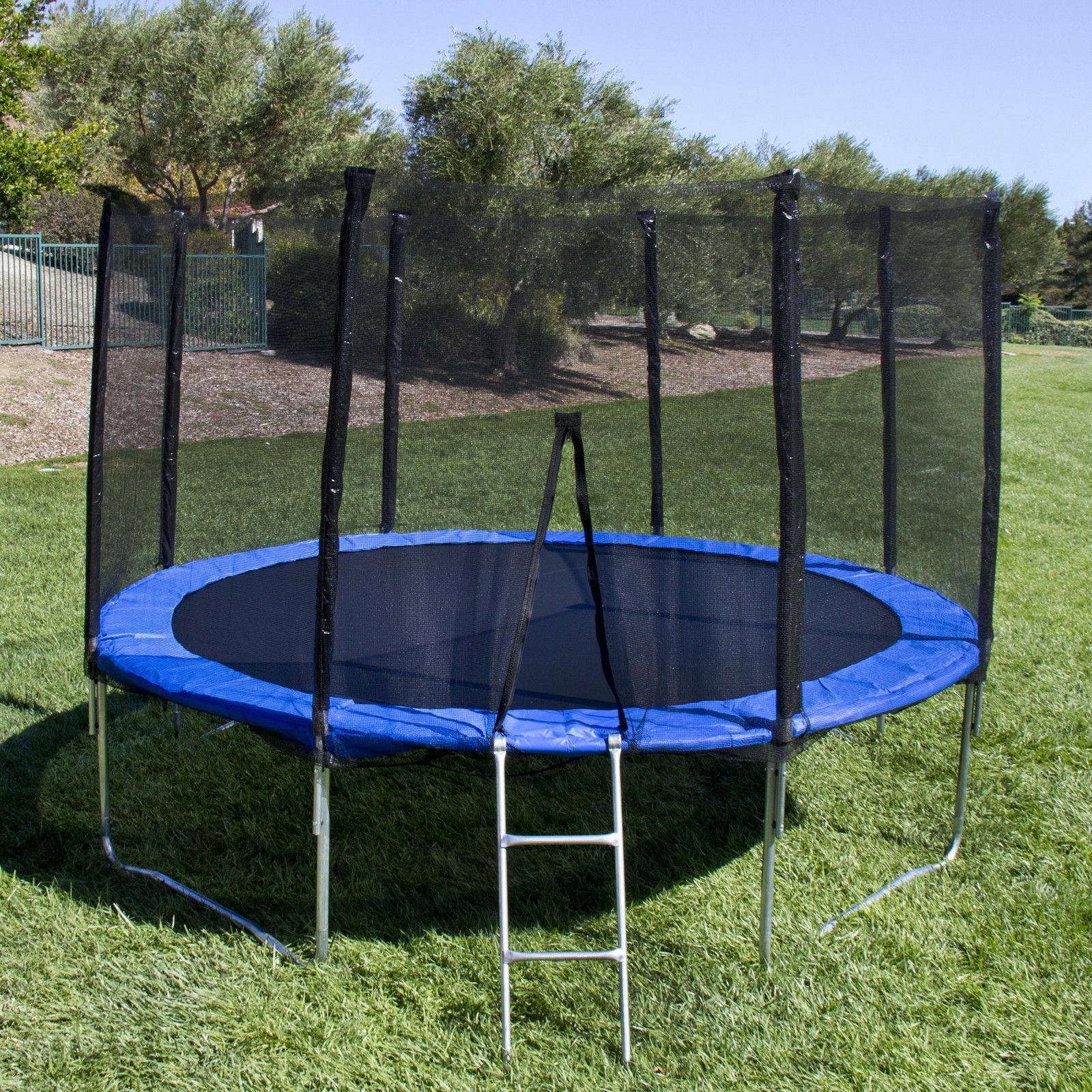 Blue, 12 ft Round, Trampoline Enclosure, Ladder Safe