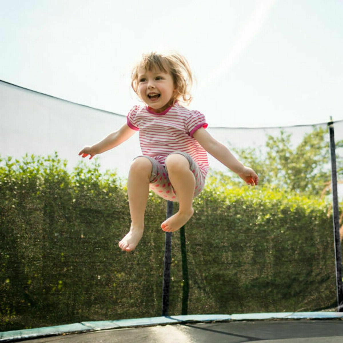 blue 12 ft round trampoline with safety