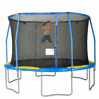 Blue Yellow Trampoline W Enclosure & Shooter