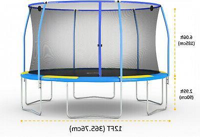 Blue Yellow 12-Foot Kids Trampoline Enclosure Ring & Shooter